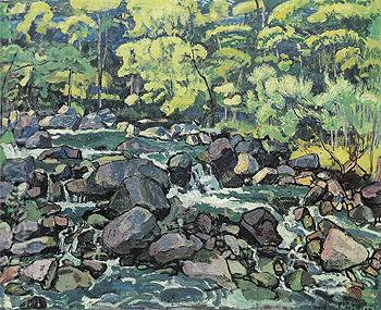 Forest Brook near Champery 1916 - Ferdinand Hodler reproduction oil painting