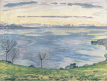 Lake Geneva in the Evening from Chexbres 1895 - Ferdinand Hodler reproduction oil painting