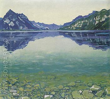 Lake Thun with Symmetrical Reflection before Sunrise 1904 - Ferdinand Hodler reproduction oil painting