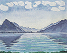 Lake Thun with Symmetrical Reflection 1905 - Ferdinand Hodler reproduction oil painting