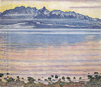 Lake Thun with Stockhorn Range 1904 - Ferdinand Hodler reproduction oil painting