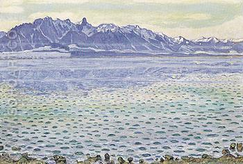Lake Thun with Stockhorn Range 55 1904 - Ferdinand Hodler reproduction oil painting