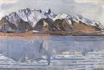Lake Thun with Stockhorn Range 1913 - Ferdinand Hodler reproduction oil painting