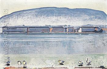 Lake Geneva with Six Swans 1914 - Ferdinand Hodler reproduction oil painting