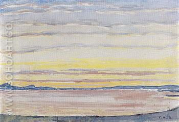 Sunset on Lake Geneva 1915 - Ferdinand Hodler reproduction oil painting