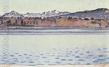 Lake Geneva with Mont Blanc in the Afternoon 1918 - Ferdinand Hodler reproduction oil painting
