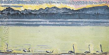 Lake Geneva with Mont Blanc at Dawn 70 1918 - Ferdinand Hodler reproduction oil painting