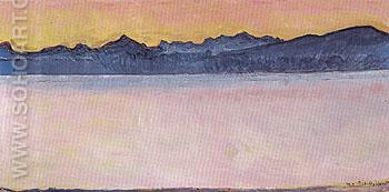 Lake Geneva with Mont Blanc in Pink Dawn Light 1918 - Ferdinand Hodler reproduction oil painting