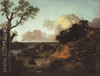 River Landscape with Rustic Lovers c1754 - Thomas Gainsborough reproduction oil painting