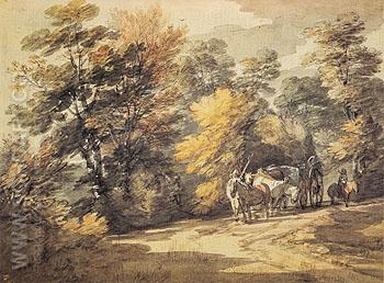 Wooded Landscape with a Waggon in the Shade 1760 - Thomas Gainsborough reproduction oil painting