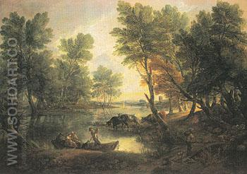 River Landscape c1768 - Thomas Gainsborough reproduction oil painting