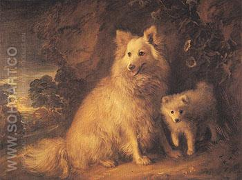 Pomeranian Bitch and Pup c1777 - Thomas Gainsborough reproduction oil painting