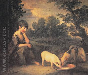 Girl with Pigs 1782 - Thomas Gainsborough reproduction oil painting
