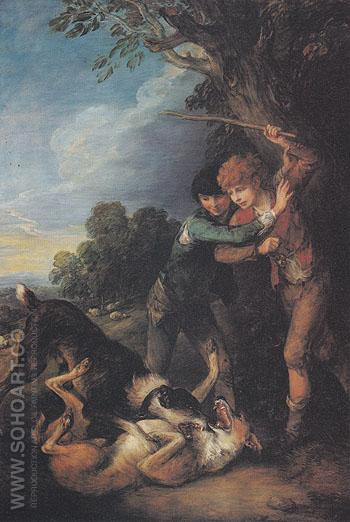 Shepherd Boys with Dogs Fighting 1783 - Thomas Gainsborough reproduction oil painting