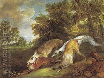 Dogs Chasing a Fox c1784 - Thomas Gainsborough reproduction oil painting