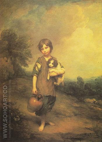 Girl with Dog and Pitcher 1785 - Thomas Gainsborough reproduction oil painting