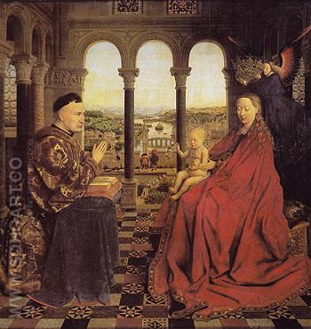 The Virgin of Chancellor Rolin - Jan Van Eyck reproduction oil painting