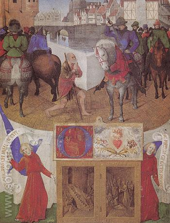 St Martin from the Hours of Etienne Chevalier 1452 - Jean Fouquet reproduction oil painting
