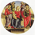 The Virgin and Child Surrounded by Two Angels St Rose and St Catherine - Pietro Vannucci reproduction oil painting