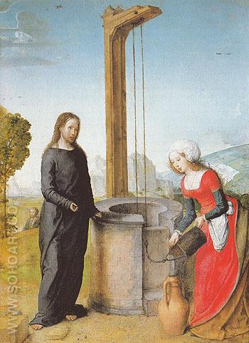 Christ and the Woman of Samaria 1504 - Juan de Flandes reproduction oil painting