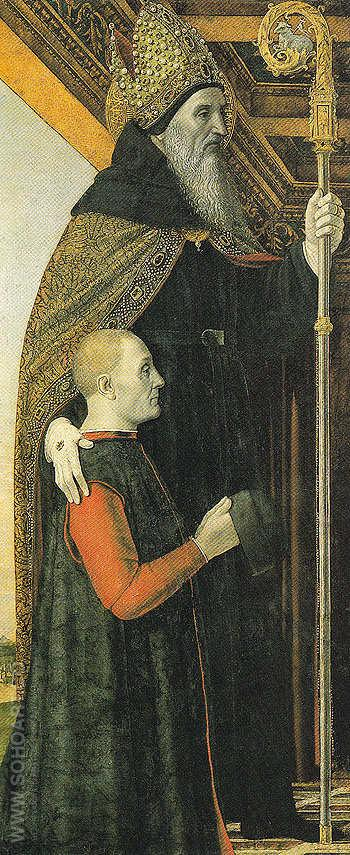 St Augutine with a Kneeling Donor - Bergognone reproduction oil painting