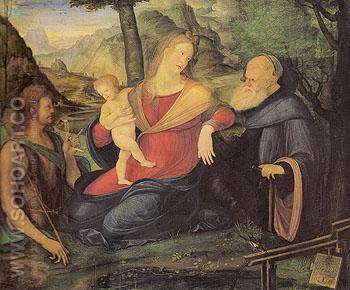 The Virgin and Child between St John the Baptist and St Anthony Abbot - Jacopo DeBarbari reproduction oil painting