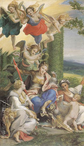 Allegory of the Virtues1529 - Antonio Allegri da Correggio reproduction oil painting