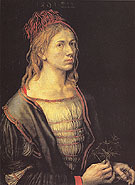 Portrait of the Artist Holding an Erynganeum - Albrecht Durer reproduction oil painting
