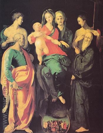 The Virgin and Child with Four Saints 1529 - Jacopo Carrucci reproduction oil painting