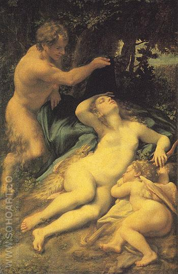 Venus Satyr and Cupid - Antonio Allegri da Correggio reproduction oil painting