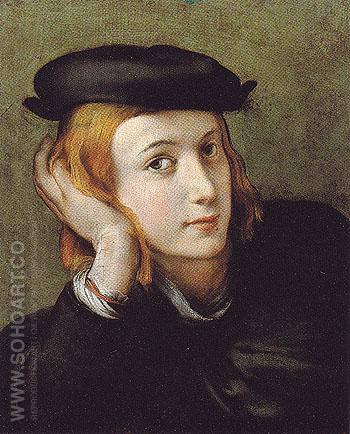 Portrait of a Young Man - Antonio Allegri da Correggio reproduction oil painting