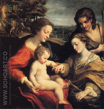 The Mystic Marriage of St Catherine with St Sebastian in the Background the Martyrdom of Two Saints c1526 - Antonio Allegri da Correggio reproduction oil painting