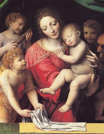 The Virgin Carrying the Sleeping Child with Three Angels - Luini reproduction oil painting