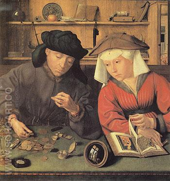 The Moneylender and His Wife - Quentin Metsys reproduction oil painting