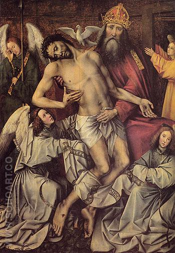The Trinity with the Dead Christ Supported by Angels Central Panel of the Throne of Grace - Colijn de Coter reproduction oil painting