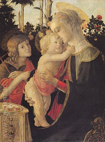 The Virgin and Child with John the Baptist - Sandro Botticelli reproduction oil painting