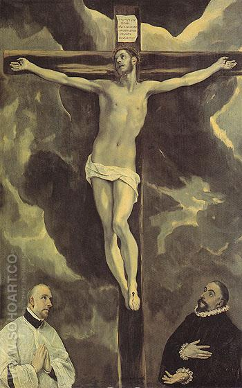 Christ on the Cross Adored by Two Donors - El Greco reproduction oil painting