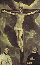 Christ on the Cross Adored by Two Donors - El Greco
