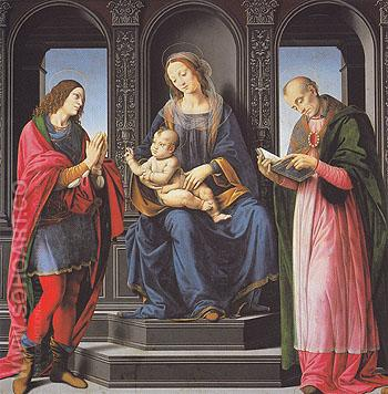 The Virgin and Child with St Julian and St Nicholas of Myra - Leonardo da Vinci reproduction oil painting