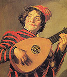 Jester with a Lute - Frans Hals reproduction oil painting