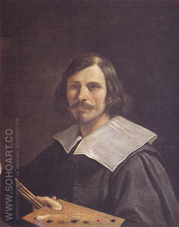 Portrait of the Artist Holding a Palette - Giovanni Francesco Barbieri reproduction oil painting