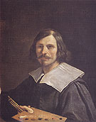 Portrait of the Artist Holding a Palette - Giovanni Francesco Barbieri