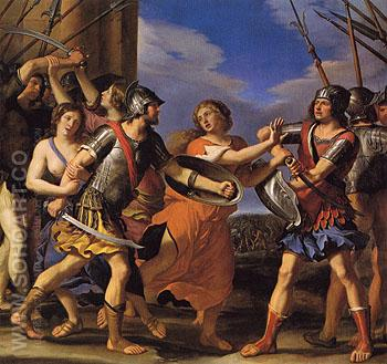 Hersilia Separating Romulus from Tatius - Giovanni Francesco Barbieri reproduction oil painting