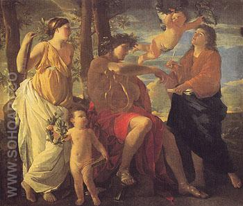 The Inspiration of the Poet - Nicolas Poussin reproduction oil painting