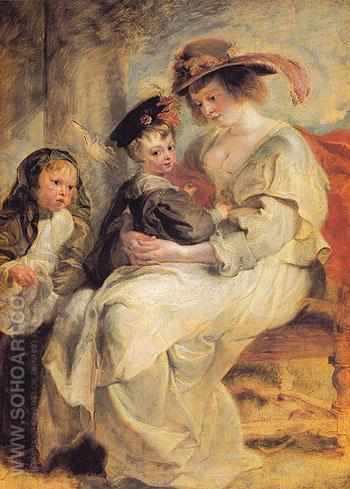 Helene Fourment and Her Children Claire Jeanue and Francois c1636 - Ruebens reproduction oil painting