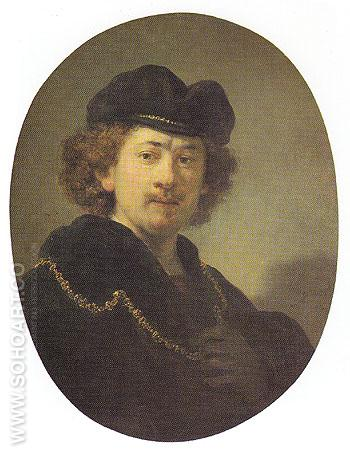 Self Portrait with a Gold Chain 1633 - Rembrandt Van Rijn reproduction oil painting