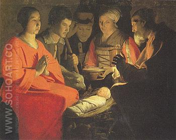 The Adoration of the Shepherds - George de la Tour reproduction oil painting