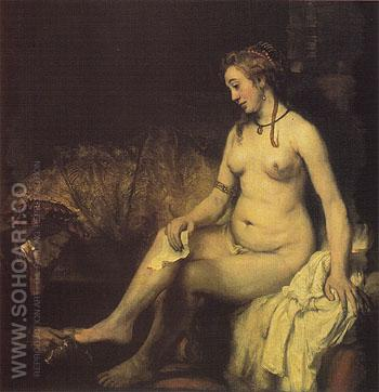 Bathsheba at Her Bath 1654 - Rembrandt Van Rijn reproduction oil painting