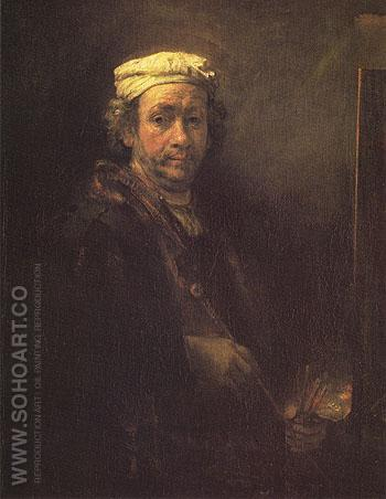 Portrait of the Artist at his Easel 1660 - Rembrandt Van Rijn reproduction oil painting