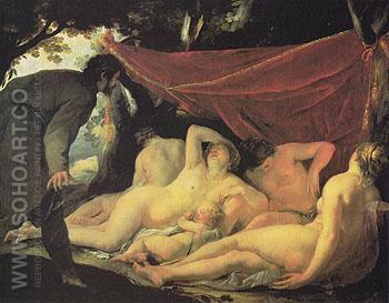 Venus and the Graces Surprised by a Mortal - Jacques Blanchard reproduction oil painting